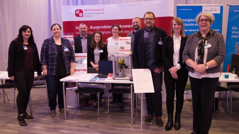 Das Mittelstand 4.0-Kompetenzzentrum Ilmenau war mit allen Modellfabriken vertreten (© Mittelstand 4.0-Kompetenzzentrum Ilmenau)