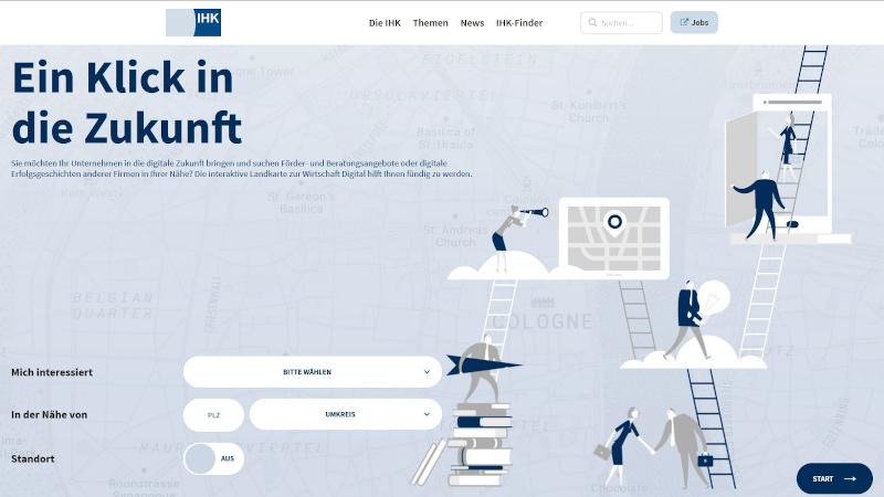 """Screenshot Landkarte """"Wirtschaft digital"""" (© IHK Düsseldorf)"""