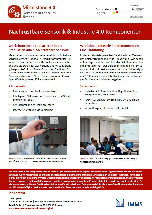 Screenshot Workshops Nachruestbare Sensorik und Industrie 40 Komponente