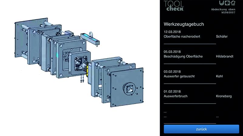 Zeichnung eines Spritzgusswerkzeuges und der digitale Begleit-Hefter auf einem Smartphone (© Mittelstand 4.0-Kompetenzzentrum Ilmenau)